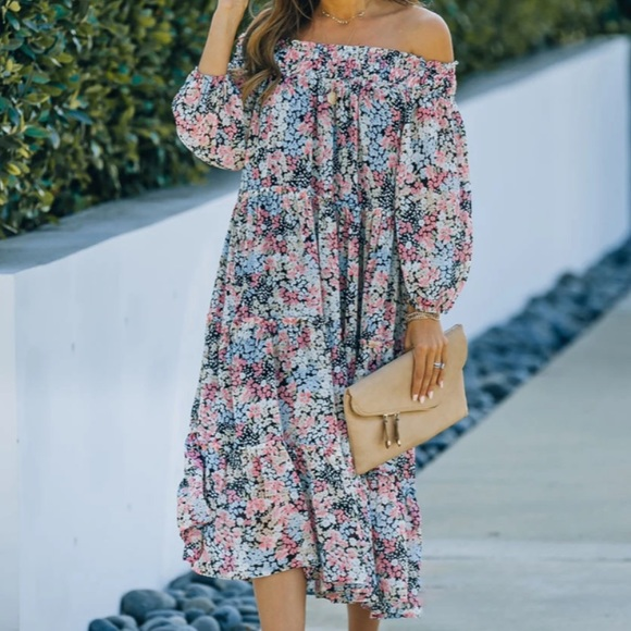 FLORAL OFF THE SHOULDER TIERED MIDI DRESS